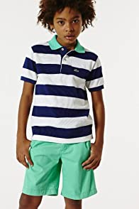 Boy's Short Sleeve Contrast Collar And Stripe Pique Polo