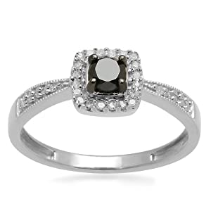 Sterling Silver Black and White Diamond Square Top Promise Ring (1/4 cttw, I-J Color, I3 Clarity), Size 7 from Amazon Curated Collection