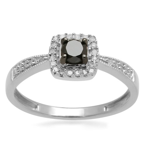 Sterling Silver Black and White Diamond Square Top Promise Ring (1/4 cttw, I-J Color, I3 Clarity), Size 7