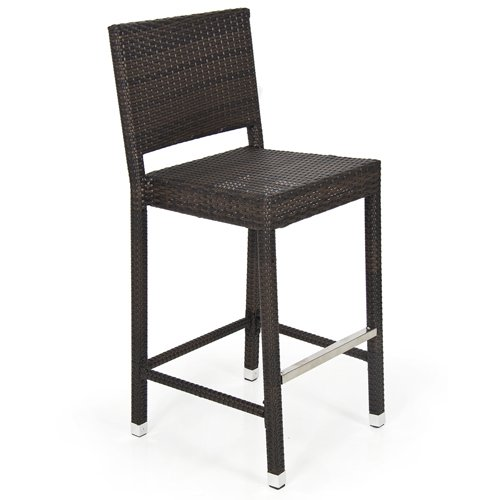 Outdoor Wicker Barstool All Weather Brown Patio