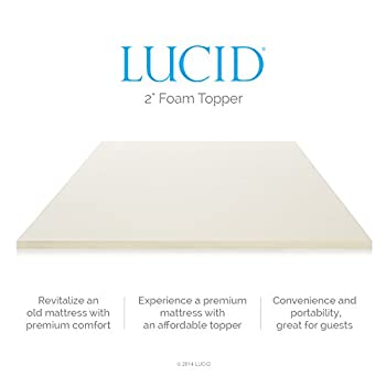 LUCID 2 Inch Foam Mattress Topper Twin size 3-Year Warranty