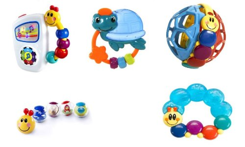 Imagen de Baby Einstein 9-Piece Pack Básico - Take Along Tunes, agitar y teethe, Rattle Caterpillar y teethe, Pelota Bendy y Pilar Roller-Bolas de actividad