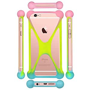 Casotec Universal Silicone Bumper Frame Soft Gel Phone Case Cover for Lyf Flame 7 - Multicolor