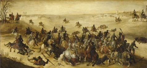 Oil Painting 'Sebastiaan Vranckx,Battle Of Leckerbetken,1573-1647', 16 x 34 inch / 41 x 88 cm , on High Definition HD canvas prints is for Gifts And Gym, Kids Room And Kitchen Decoration (Fish Tank Filler Hose compare prices)