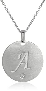 """Sterling Silver Diamond Accent 'A' Engraved Letter Pendant Necklace , 18"""""""