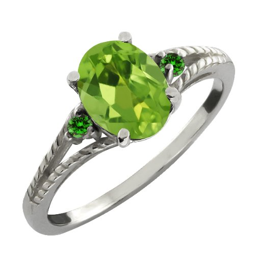 1.39 Ct Oval Green Peridot and Green Diamond Sterling Silver Ring
