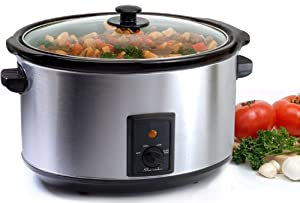 Maxi-Matic MST-800V Elite Gourmet Large 8-1/2-Quart Slow Cooker, Stainless