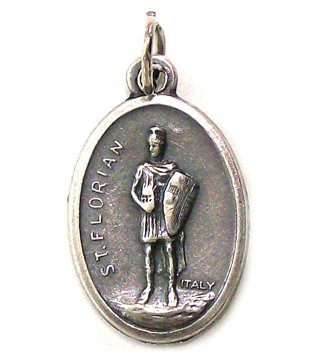 Saint Florian Oxidized Medal - MADE IN ITALY