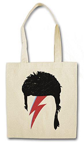 """BOWIE HAIRSTYLE """"J"""" Hipster Shopping Cotton Bag Borse riutilizzabili per la spesa - taglio di capelli Ziggy David Cut Music Stardust"""