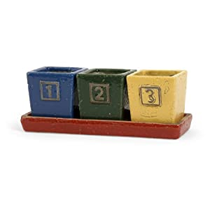 Set of 3 Colorful Square Clay Numbered Mini Planters with Tray 4.75""