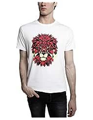 TOMO Men's Cotton White Color Round Neck LION Printed T-shirt