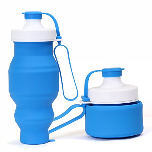 Eco-Friendly TPU Silicone Portable Outdoor Sports Cycling Folding Hydration Drinking Water Bottle For Camping Hiking Cycling Yoga Travel (Dark Blue)