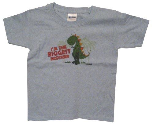 Sibling Tees Dinosaur Biggest Brother Shirt-Youth T-Shirt-Blue-Large