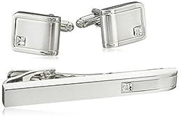 Geoffrey Beene Men\'s Cufflink and Tie Clip Set, Silver Cuff, One Size