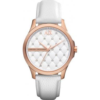 Armani Exchange Ladies White Leather Strap Watch AX5205