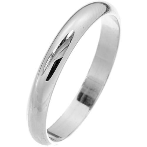 14K White Gold, Light Half Round Wedding Band 3MM (sz 7.5)