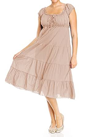 d4b66ea58616 Evogues plus size cotton empire waist sundress light taupe jpg 283x445 Empire  waist sundresses