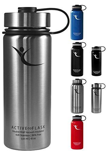 BeMaxx Fitness Flaska AKTIV kolv  nedläggningar 3 dricka - Dubbel vägg vakuumisolerad termos i rostfritt stål för kontor, sport, utomhus - perfekt för kaffe, te, kalla drycker