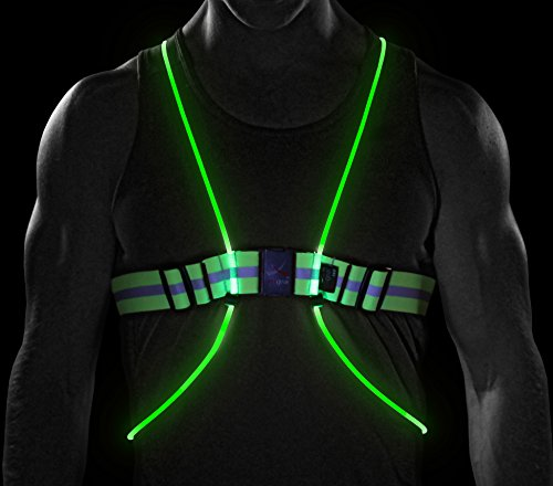 NoxGear Tracer360 – Visibility Illuminated Sports Vest. Revolutionary Multicolored LED Fiber Optics. Adjustable, Lightweight, Weatherproof Gear for Running, Biking or Walking.
