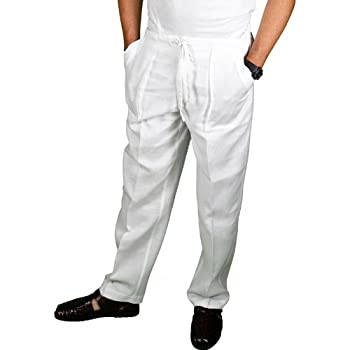 Pure white linen drawstring pants for men