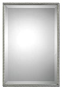 Beaded rectangle silver vanity wall mirror for Thin wall mirror