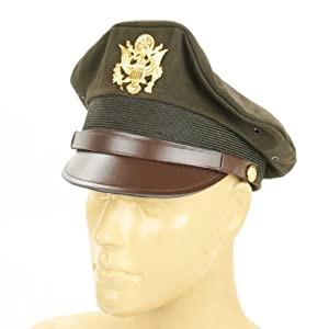 U.S. WWII Officer Visor Crusher Cap: Winter (OD Green)- Size US 7 3/4 (62 cm) from International Military Antiques, Inc.