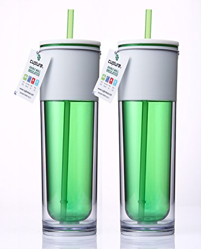 Cupture® Tall White Lid Insulated Green Tumbler Cup With Straw - 17 Oz, 2 Pack front-13728