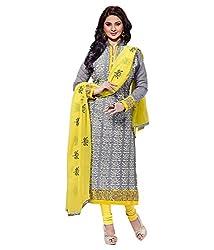 ethnic bazaar yellow grey partywear salwar suit dress material