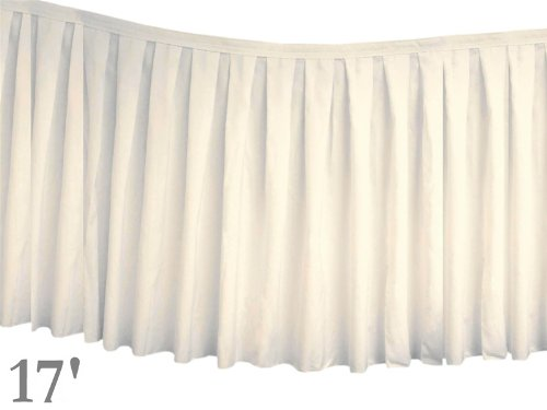 """17 Feet X 29"""" Polyester Banquet Table Skirt - Ivory front-277624"""