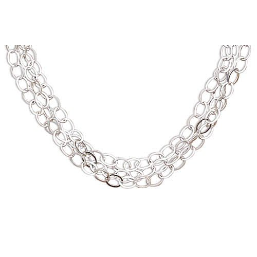 Sterling Silver 17 Inch Polished 3 Strand Oval Link Necklace