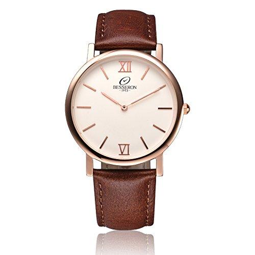 besseron-unisex-classic-wrist-watch-quartz-with-rose-gold-case-brown-genuine-leather-belt-a-luxury-w