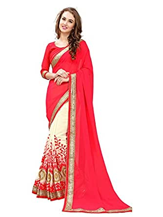 Panchratna Women's Georgette Half and Half Fancy Party Wear Saree with blouse piece