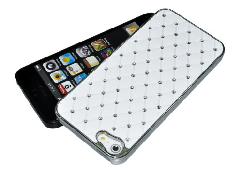 Pack of 200 PCS: Diamond Pattern, Snap-on Hard Case for iPhone 5 - White