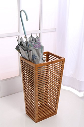 Rustic Open Slats Umbrella and Walking Canes Storage with Cast Iron Drip Pan