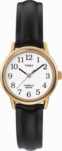 Timex Ladies Watch with White Dial and Black Leather Strap - T20433PF