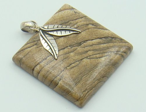 PICTURE JASPER .925 SILVER PENDANT OF: 49mm