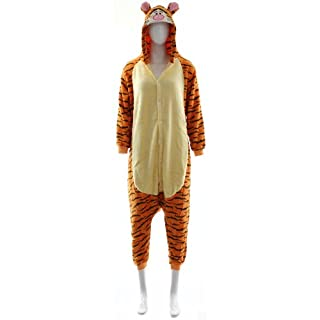 Fashion Wardrobe ONESIE Adult Pyjamas ANIMAL ZOO FANCY DRESS (UK 6-8 Small, Tiger W407)
