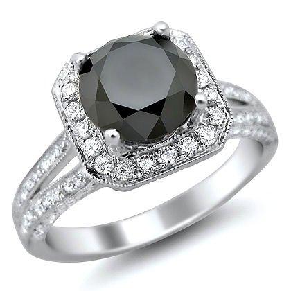 2.90Ct Black Round Diamond Engagement Ring 18K White Gold Vintage