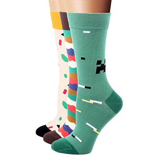 RioRiva Women's Mid-calf Socks 3 Pack Multi-colored Stripes Dots (Baby Shoes For Fat Feet compare prices)