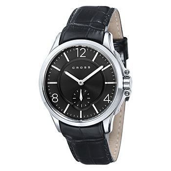 Men's Designer Watch with Round Black Dial and Subdial Seconds Display