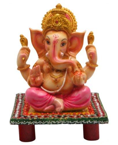 Colorful Ganesh Statue on Pedestal