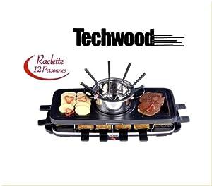 Techwood raclette 12 personnes grill fondue 3 en 1 anti adhesif 1600 w - Raclette pour 12 personnes ...