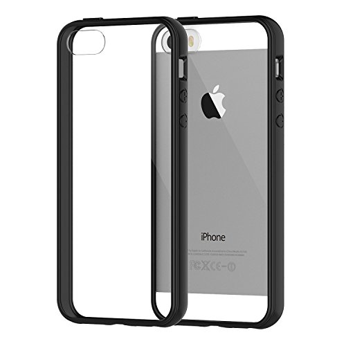 Hovisi®; TPU+PC Shock Resistant Bumper silicon Crystal Case for Iphone 5/5S/SE (Bumper - Black) (Iphone5 Case Crystal compare prices)