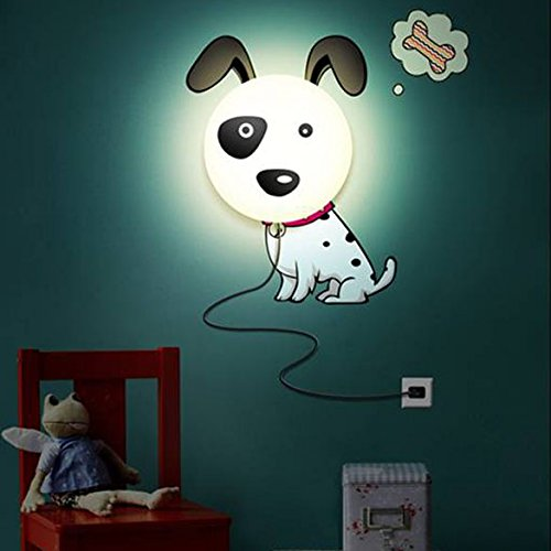 Chinatera Colorful Cut Dalmatian Wall Sconce Night Light Wall Sticker Lamp for Kids Room