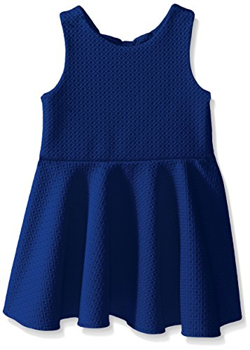 Rare Editions Little Girls R Textured Knit Skater Dress, Royal, 3T