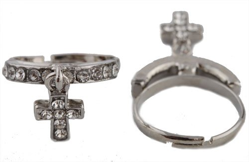Ladies Silver with Clear Iced Out Dangle Cross Adjustable Finger Ring