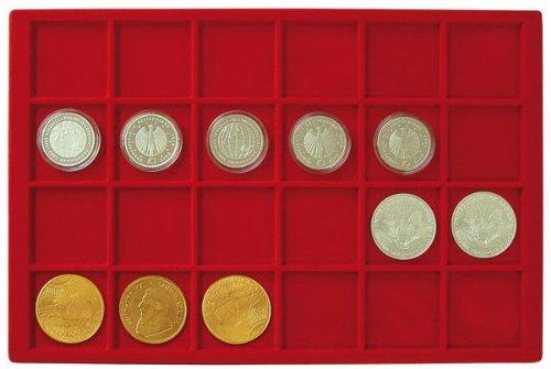 Plateau pour 24 monnaies jusqu'à 47 mm Ø [Lindner 2329-24], Format 336 x 224 mm