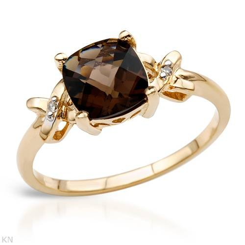Yellow Gold 2.19 CTW Topaz and 0.01 CTW Accent Diamond Ladies Ring. Ring Size 6.5. Total Item weight 2.1 g.