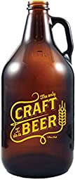 Craft Beer - Amber Glass Beer Growler, 64 oz - By 30 Watt