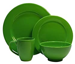 Waechtersbach Fun Factory II Green Apple 4-Piece Dinnerware Set, Service for One
